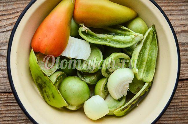 tomates, oignons, poivrons