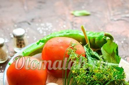tomatoes, greens, garlic