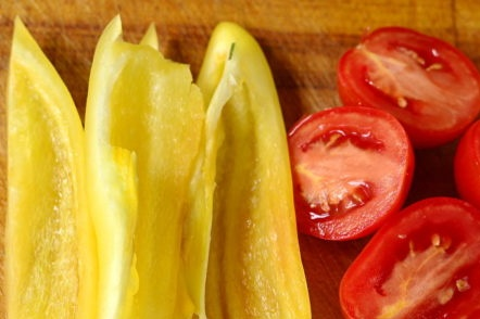 prepare peppers and tomatoes