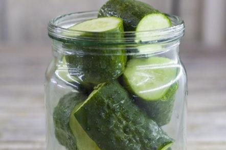 laying cucumbers in the jar