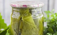 cucumbers in grape leaves