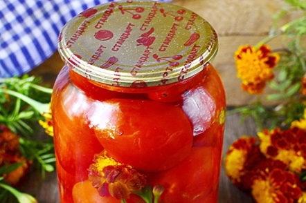 буркан с домати с цветя