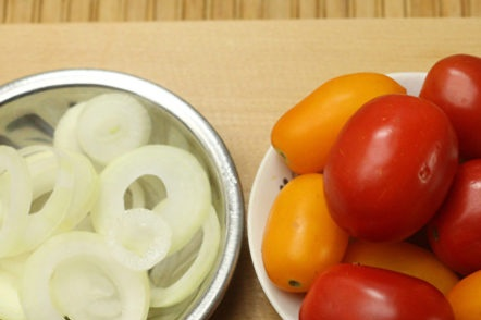 wash the tomatoes, chop the onion