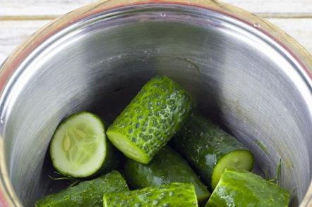 cucumbers in the pan