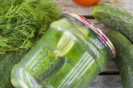 jar of pickled cucumbers