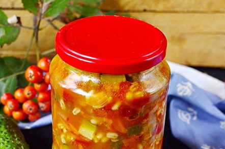 jar with pickle for the winter