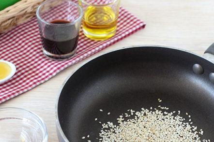 white sesame in a pan