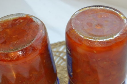jars of lecho for the winter