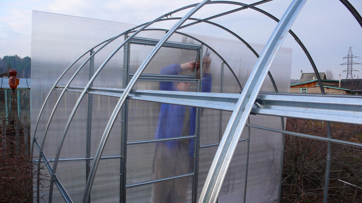 Galvanized profile for polycarbonate greenhouses: strength, reviews, photos