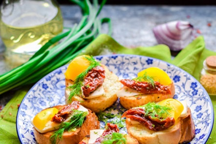 bruschetta with vegetables and cheese