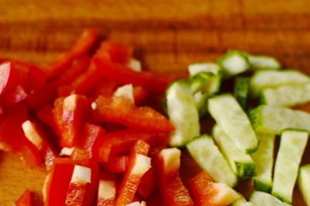 sliced peppers and cucumbers