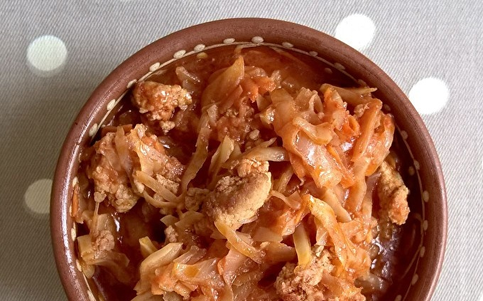 stewed cabbage with minced meat