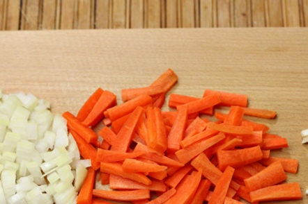 chop carrots and onions