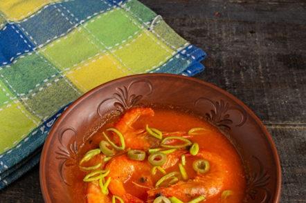 soupe de tomates aux crevettes
