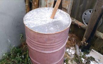 water in the barrel in winter